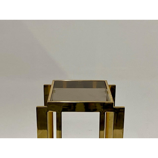 Metal Mastercraft Hollywood Regency Style Patinated Brass Pedestal For Sale - Image 7 of 8