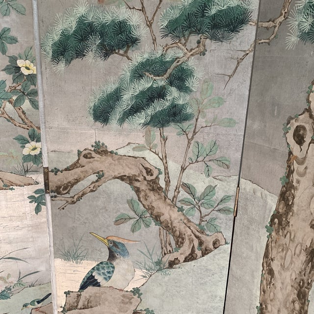 Chinoiserie Eight Panel Folding Screen, Silver Leaf With Birds, Peonies and Cherry Blossoms - a Pair For Sale - Image 9 of 13