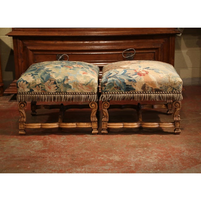 19th Century French Louis XIV Carved Walnut Aubusson Stools - a Pair For Sale In Dallas - Image 6 of 9