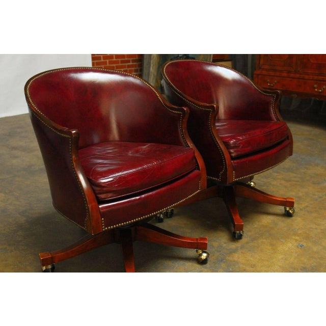 Baker Leather Barrel Back Office Chairs - A Pair - Image 2 of 6