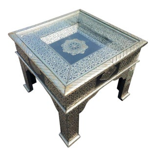 Moroccan Metal Inlay and Leather Patches Square Side Table For Sale