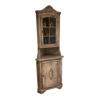 Vintage Rustic Corner Hutch For Sale