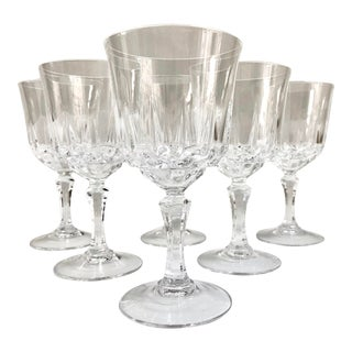 Vintage Crystal Wine Glasses - Set of 6 For Sale