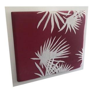 Pink Velvet & Felt Palmettos Headboard For Sale