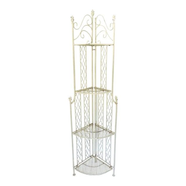 Cast Iron Folding Four Tiered Corner Shelf Unit - Étagère For Sale