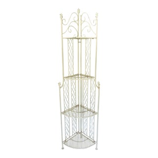 Vintage Cream Cast Iron Folding Four Tiered Corner Shelf Unit - Étagère For Sale