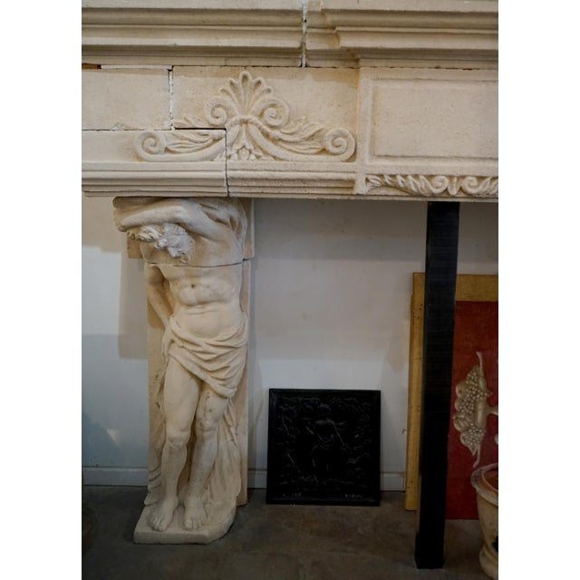 2010s French Limestone Mantel Atlas Atlantes For Sale - Image 5 of 6