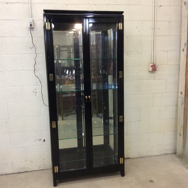 Asian Style Black Lacquer & Mirrored Display Case Lighted For Sale - Image 10 of 10