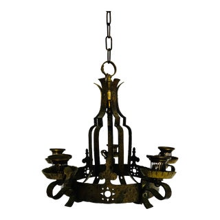 Gothic 5-Light Hanging Candle Fixture Solid Brass Hans Hammered Straps For Sale