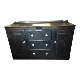 Antique Traditional Black Wood Buffet For Sale