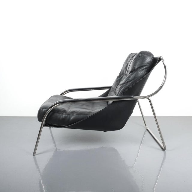 1950s Marco Zanuso Maggiolina Sling Black Leather Chair by Zanotta, 1947 For Sale - Image 5 of 11