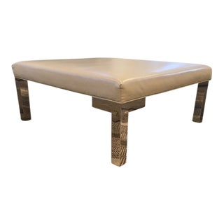Modern Square Chrome Leg Ottoman For Sale