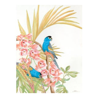 """A Parrot's Life for Me"" Bird Art Painting by Allison Cosmos in Chinoiserie Style For Sale"