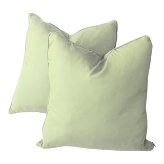 20th Century Contemporary Green Dupioni Down Filled Silk Pillows - a Pair For Sale