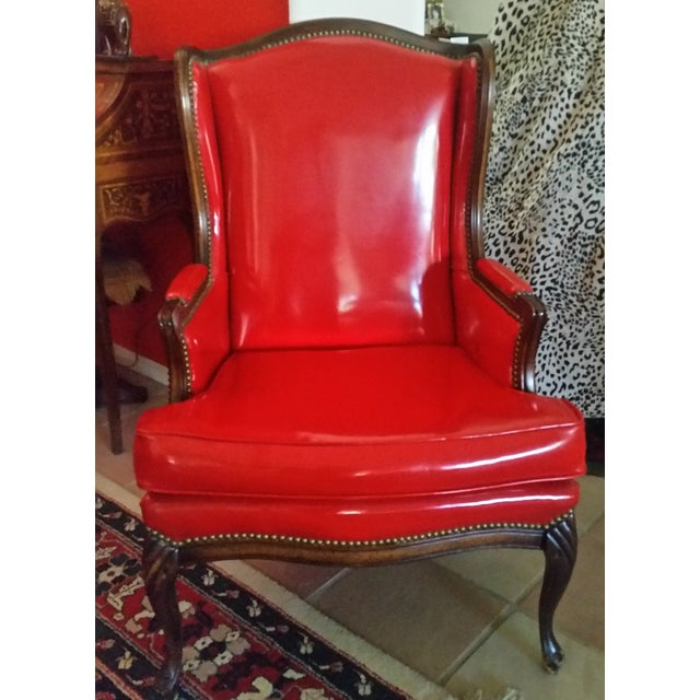 Antique Red Patent Leather Armchair - Image 3 of 11