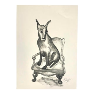 Dog on a Chair Oil Painting on Paper For Sale