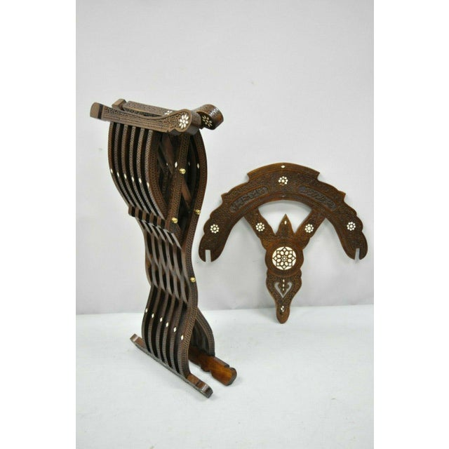 19th Century Mother of Pearl Inlay Syrian Savonarola Curule Throne Arm Chairs- A Pair For Sale - Image 9 of 12