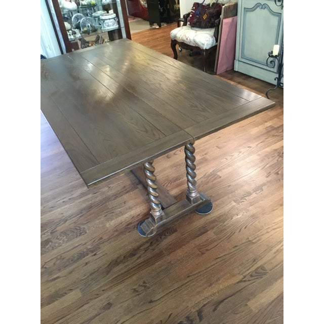 Ethan Allen Jacobean Barley Twist Expanding Banquet Dining Room Trestle Table For Sale - Image 9 of 9