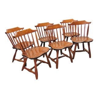 Hunt Country Rustic Pine & Oak Dining Chairs - Set of 6 For Sale