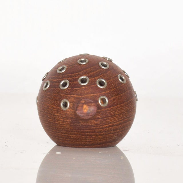 Puffer Fish Toothpick Holder Appetizer Server in Solid Teak Denmark For Sale - Image 4 of 8