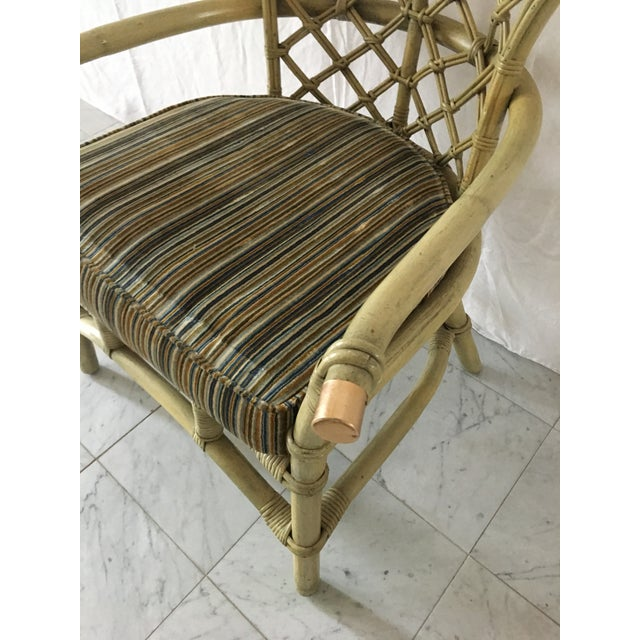 Vintage Green Rattan Fan Back Chair - Image 8 of 11