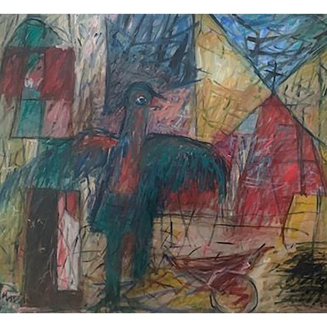 Harriet Tannin American 1929 - 2009 Night Intruder Oil on canvas 44 x 50 in. Signed Titled and dated 1974 on verso Framed...