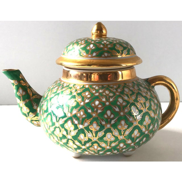 Antique Old Paris Porcelain Green and Gold Teapot For Sale - Image 10 of 10