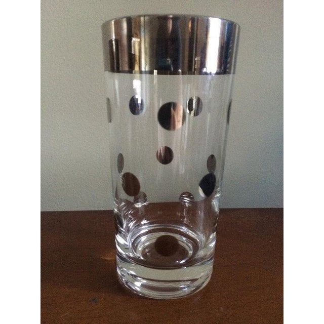 Dorothy Thorpe Silver Rim Polka Dot Glass - A Pair - Image 3 of 4