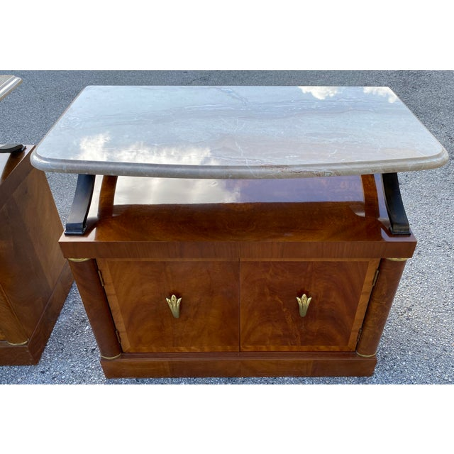 Mid-Century Modern 1980s Henredon Burl Nightstand Tables with Granite Tops - a Pair For Sale - Image 3 of 13