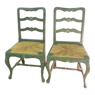 Antique French Painted Chairs- a Pair For Sale