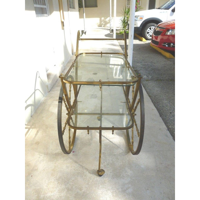 Mid-Century Hollywood Regency Brass Bar Cart For Sale - Image 9 of 12