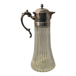 Vintage Tall Glass & Silverplate Iced Beverage Serving Pitcher For Sale