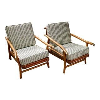 Pair of John Wisner for Ficks Reed Campaign Style Rattan Chairs