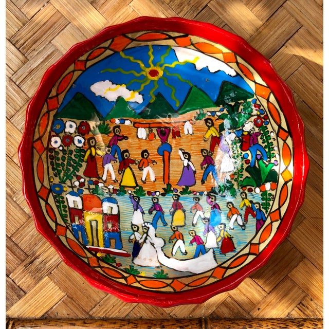 Blue Mexican Wedding Folk Art Hand-Painted Pottery Bowl For Sale - Image 8 of 8