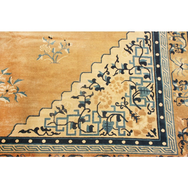 1910s Antique Peking Traditional Gold and Blue Wool Rug - 9′ × 12′8″ For Sale - Image 5 of 6