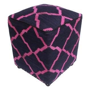 Arshs Deja Blue/Pink Kilim Upholstered Handmade Ottoman For Sale