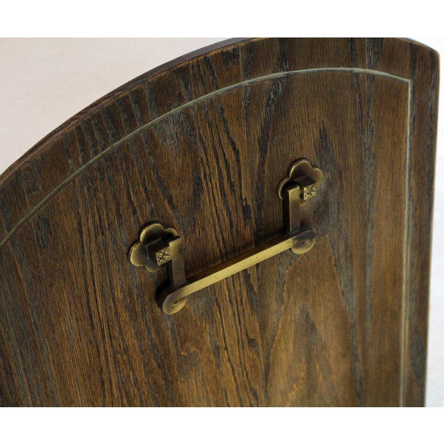 Cerused Carved Scallop Oak Leather Wrapped Campaign Portable Secretary Desk For Sale - Image 12 of 13