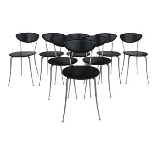 Set of 8 Arper Leather and Aluminum Dining Chairs, Italy For Sale