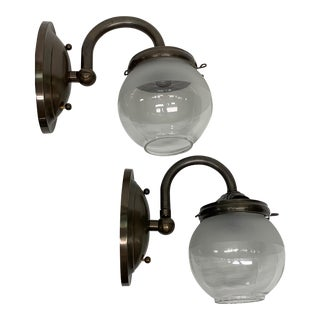 Industrial Gas Sconces With Globe Shades #2034 - a Pair For Sale