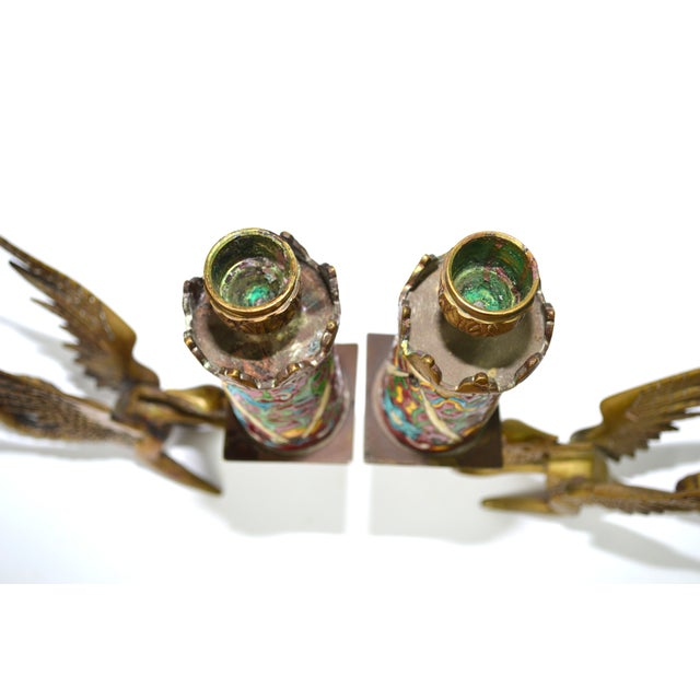 Antique Longwy Gryphon Candlesticks - A Pair - Image 7 of 7