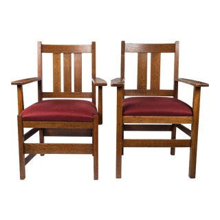 Signed Stickley Armchairs - A Pair For Sale