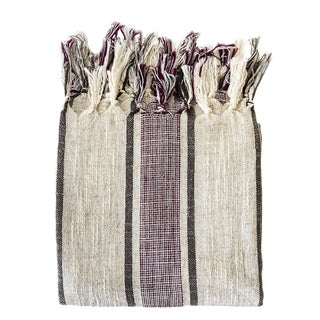 Bordo Linen Handwoven Turkish Towel For Sale