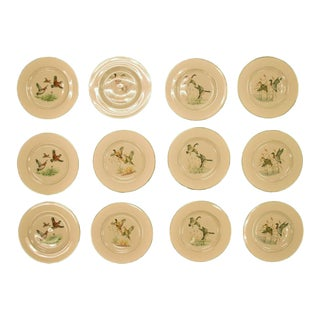 Set of 12 Pickard China Gamebird Plates for Abercrombie & Fitch For Sale