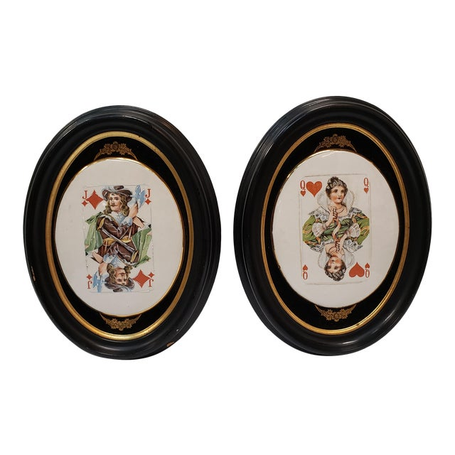 Late 19th Century English Playing Card Painted Transferware Framed Porcelain Plaques - a Pair For Sale