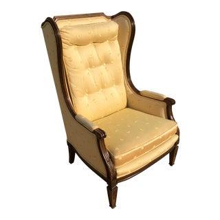 Louis XVI Dupioni Silk and Walnut Confessional Bergères à Oreilles Bergere Chair For Sale