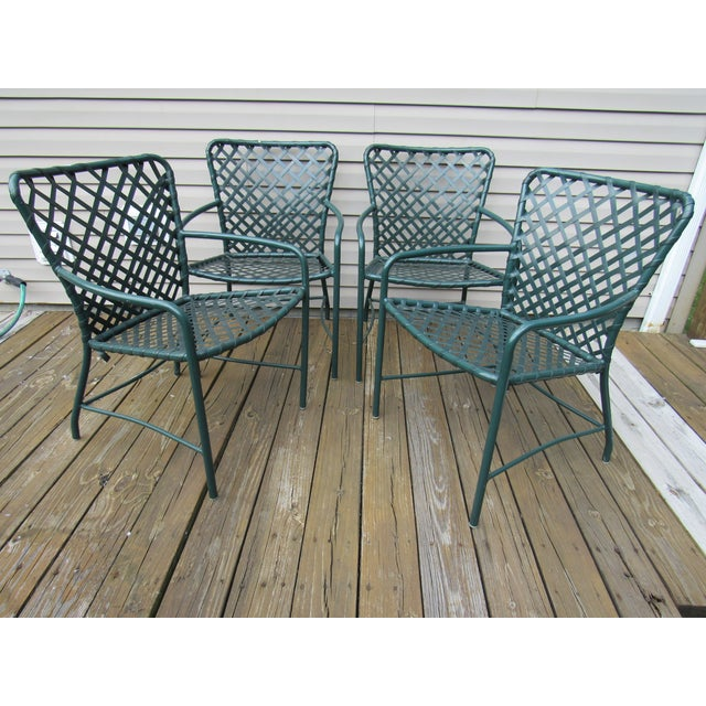 Vintage Brown Jordan Mid-Century Green Tamiami Outdoor Chairs - Set of 4 For Sale - Image 6 of 7