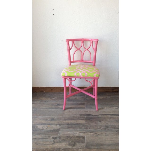 1960s Vintage Ficks Reed Pink Bamboo Rattan Side Chair For Sale - Image 5 of 5