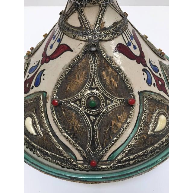 Metal Moroccan Ceramic Tajine From Fez Polychrome For Sale - Image 7 of 10
