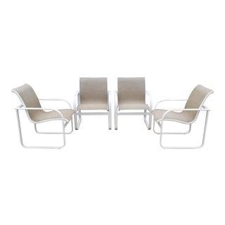 1980's Brown Jordan Quantum Arm Dining Chairs W/ Beige Mesh - Set of 4