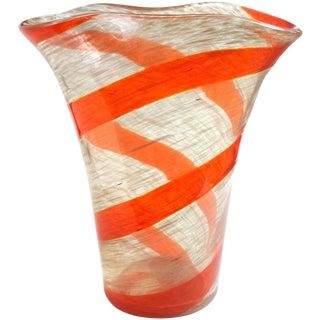 Fratelli Toso Murano Red Orange Stripe Aventurine Flecks Italian Art Glass Vase For Sale